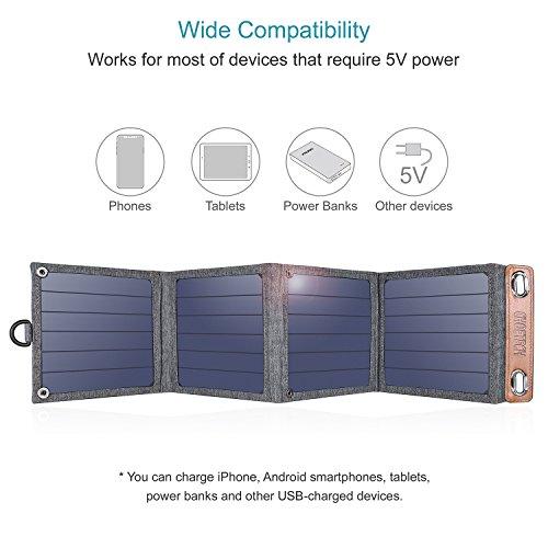 CHOETECH Cargador Solar, 14W Panel Solar Cargador Portátil Impermeable Placa Solar Power Bank Compatible con Teléfonos Samsung, iPhone, Huawei, iPad,...
