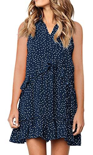 MIROL Women's Sleeveless V Neck Ruffle Polka Dot Loose Fit Casual Swing Short T-Shirt Dress (Solid Pleated Dress)