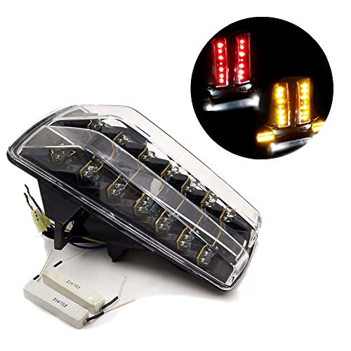 - HTTMT MT045- Tail Light Brake Tail Lights with Integrated Turn Signals Indicators Compatible with 2003-2011 Suzuki Sv650 Sv650S Sv1000 Sv1000S Clear