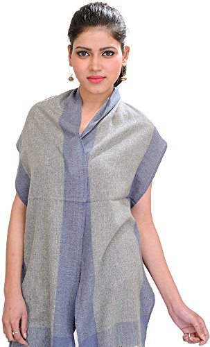 Exotic India Plain Cashmere Scarf from Nepal with Woven - Color Paloma Gray (Plain Scarf Woven)