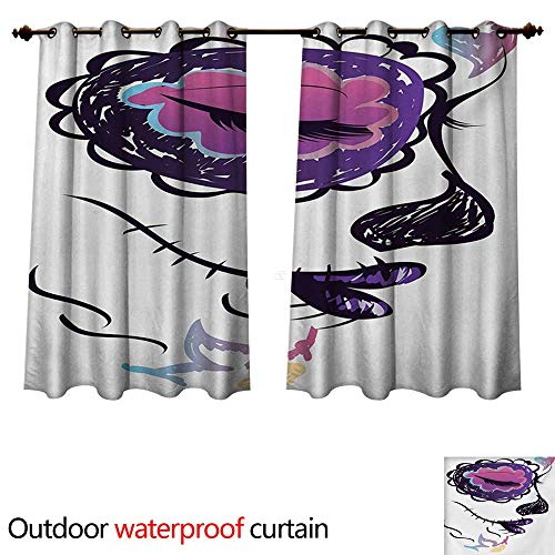 The Dead Outdoor Curtain for Patio Sugar Skull Girl Face with Make Up Hand Drawn Mexican Artwork W72 x L72(183cm x 183cm) ()