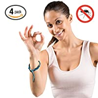 Hoont™ Natural Mosquito Repellent Faux Leather Braided Bracelet - Pack of 4 / Enjoy Outdoor & Indoor Protection – Special Formulated Natural Plant-derived Ingredients - Fits Adults and Teens