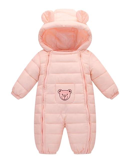 Shaoyao Bebé Mono Mameluco De Invierno Oso Lindo Traje De Nieve Espesar Peleles Pijama con Capucha: Amazon.es: Ropa y accesorios
