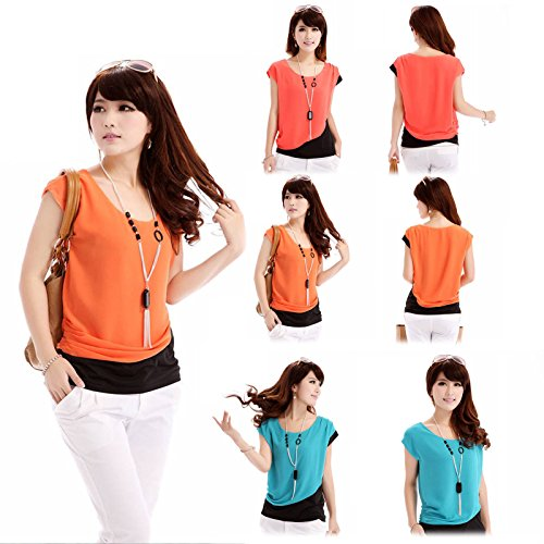 Women Career Casual Short Sleeve Round Neck Fit Slim Batwin Chiffon T-shirts Elegant Tops Blouse (M Orange)