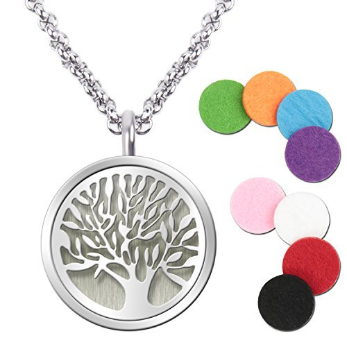 "Essential Oil Diffuser Pendant Necklace,Stainless Steel Aromatherapy Diffuser Magnetic Locket Necklaces with 27.6"" Chain and 8 Color Pads,Girls Women Jewelry Gift Set"