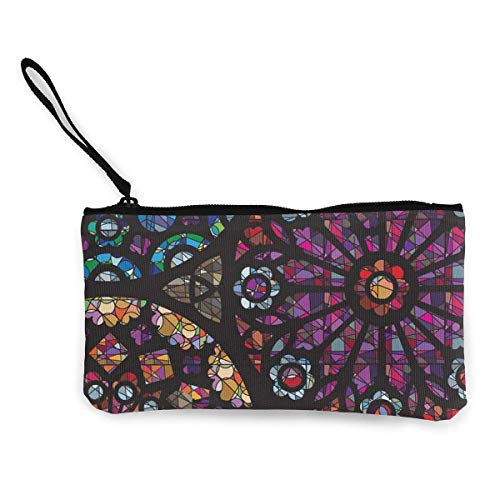 Beatybag Canvas Coin Purse with Zipper, Stained Glass Windows Pattern Canvas Coin Purse Small Cute Money Bag With Zip