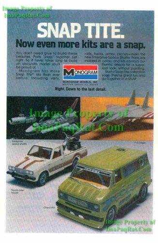 (Monogram Models: Space Shuttle Enterprise, F-15 Eagle, Toyota Pickup, Chevy Van: Great Original 1979 Photo Print Ad! )