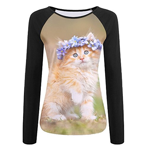 Women's 3D Print Maine-Coon-kitten Raglan Long Sleeve Tops Sweatshirt - Mall Shopping Maine