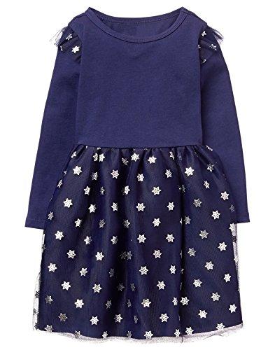 (Gymboree Girls' Toddler Snowflake Tutu Dress, Ocean Trench, 5T )