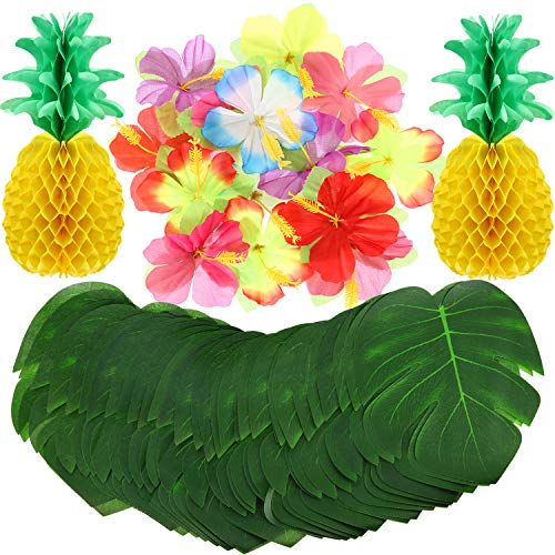 Blulu 98 Pieces Luau Hawaiian Tropical Jungle Party Decoration Set Including 48 8 Inch Tropical Palm Leaves 48 Hibiscus Flowers and 2 14 Inch Tissue Paper Pineapples -