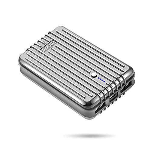 Zendure 10000mAh Power bank Portable Charger, - Extremely Durable, Compact and Small External Battery Pack Backup Mobile Charger 2 Dual USB port 5V 2.4A Output for iPhone X 8 7 6s 6, Samsung Galaxy S9/S9+/Note 8/ S8 and More Devices - Silver