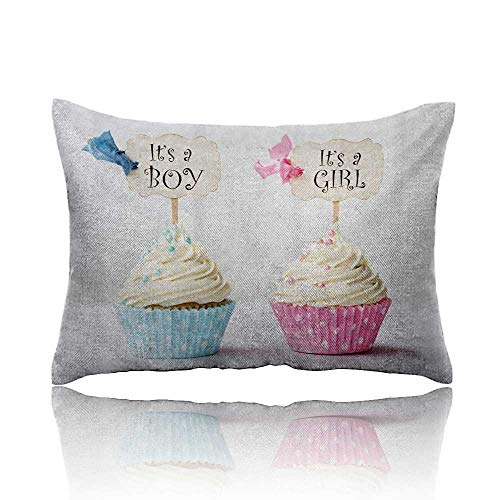 homehot Gender Reveal Small Pillowcase Boy and Girl with Cup