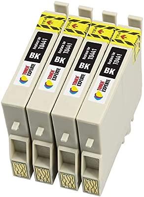 TONER EXPERTE® 4 XL Negros Cartuchos de Tinta compatibles con Epson T0441 para Impresoras Epson Stylus C64 C66 C68 C84 C86 CX3600 CX3650 CX4600 CX6400 ...