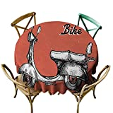 Homrkey Vintage Restaurant Tablecloth Retro Scooter Sign for Bike Bicycle Rent Classic Grunge Illustration Artwork Picnic Red Black White (Round - 67')