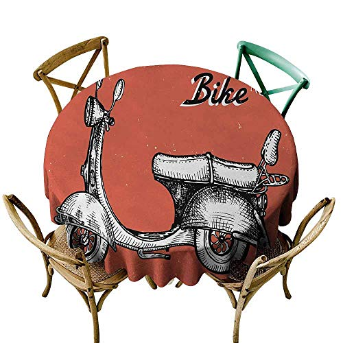 Zmlove Vintage Protective Round Tablecloth Retro Scooter Sign for Bike Bicycle Rent Classic Grunge Illustration Artwork Indoor/Outdoor Red Black White (Round - 71