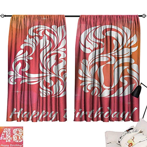 Jinguizi 48th Birthday Room/Bedroom Retro Victorian Styled Typography with Swirl Numbers Design Print Woven Darkening Curtains Red Scarlet White W63 x L63
