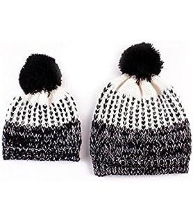 Bonnet Bebe, Tpulling 2pcs maman bébé tricot POM Bobble Hat chapeau hiver  chaud bonnet Tpulling ee240034574