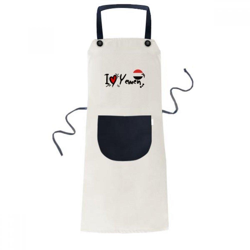 DIYthinker I Love Yemen Word Flag Love Heart Illustration Apron Cooking Bib Black Kitchen Pocket Women Men