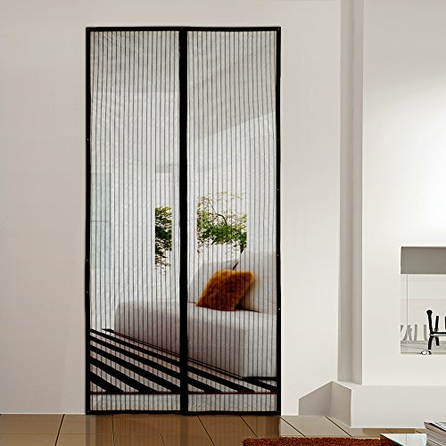 Homitt Magnetic Screen Door with Heavy Duty Mesh Curtain and Full ...