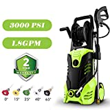 3000 PSI Pressure Washer 1.8GPM Power Washer Electric Pressure Washer Cleaner Machine with Hose Reel and 5 Interchangeable Nozzles
