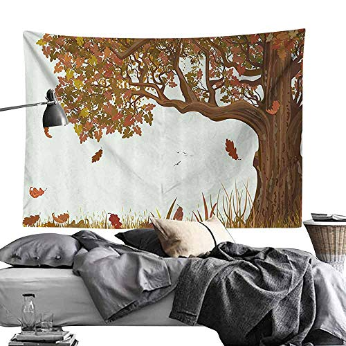 Homrkey Polyester Tapestry Tree of Life Autumn Season Fall Shady Deciduous Oak Leaves in Park Countryside Artwork Tapestry for Room W70 x L59 Umber Redwood