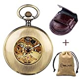 Retro Bronze Automatic Mechanical Pocket Watch Arabic Numerals Chain Creative Transparent Glass Cover