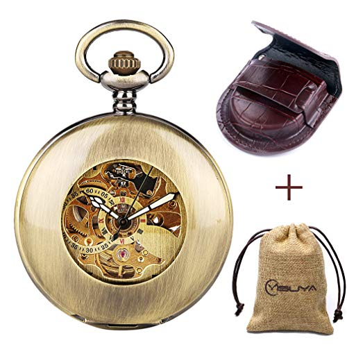 Glass Mechanical Pocket Watch - Retro Bronze Automatic Mechanical Pocket Watch Arabic Numerals Chain Creative Transparent Glass Cover