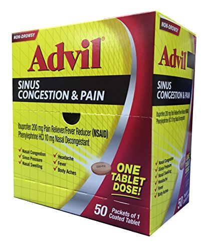 Advil Sinus Congestion & Pain Dispenser Box, 50 Packets of 1 Coated Tablet (Pack of 2)
