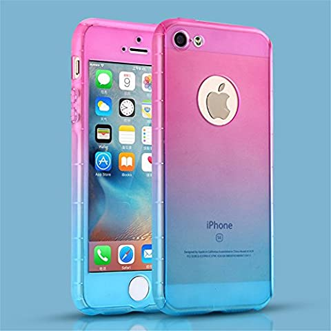 iPhone 5S Case, iPhone 5 Case, MCUK Full Body Coverage Luxury Ultra-thin Gradient with [Slim Tempered Glass Screen Protector] Shockproof Armor Case Cover for Apple iPhone 5S/5 (I Phone 5s Case In Pink)