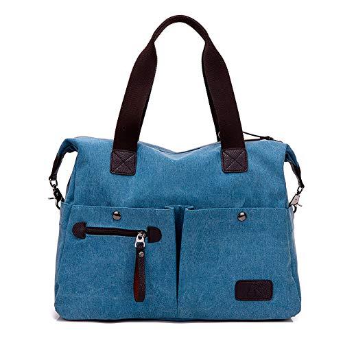 KARRESLY Women' Canvas Shoulder Bag Top Handle Tote Multi-pocket Handbag Purse(Blue1)
