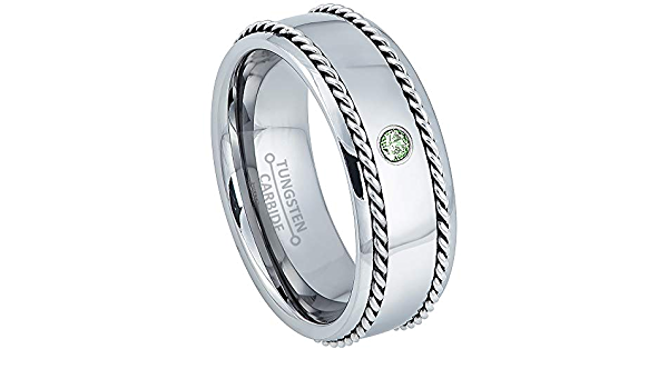 8mm Black IP Brushed Center Tungsten Carbide Ring TS1662 Men/'s June Birthstone Ring Alexandrite /& Diamond Wedding Band