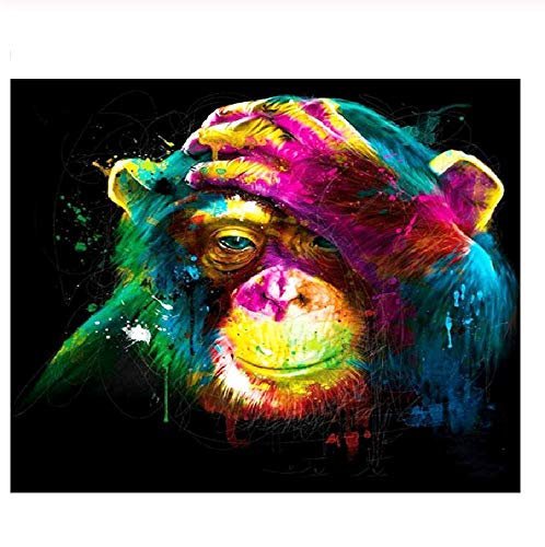Classic Jigsaw Puzzle 1000 Pieces Adult Puzzles Wooden Puzzles Painted Monkey Animal Abstract DIY Modern Wall Art Unique Gift Home Decor - Painted Monkey