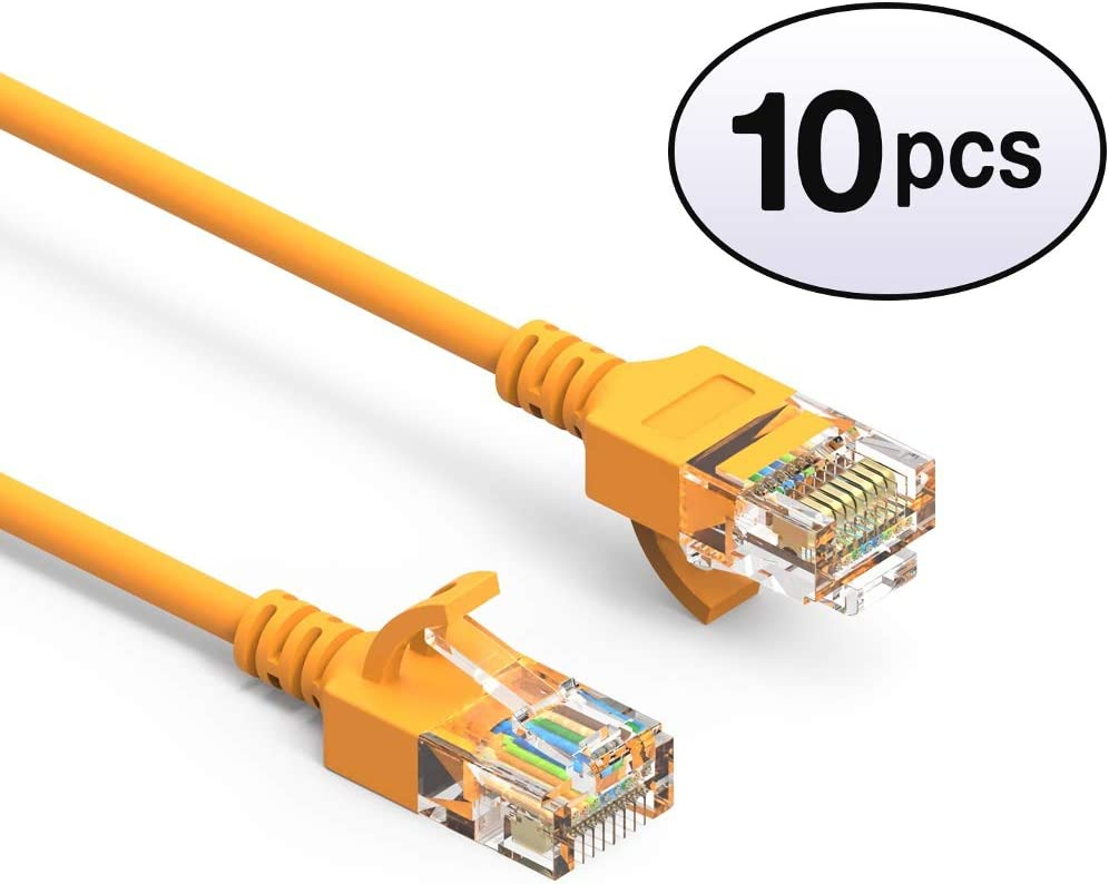 550MHz 10 Gigabit//Sec High Speed LAN Internet//Patch Cable 28AWG Network Cable with Gold Plated RJ45 Molded//Booted Connector 20-Pack - 3 Feet Orange GOWOS Cat6a Slim UTP Ethernet Cable