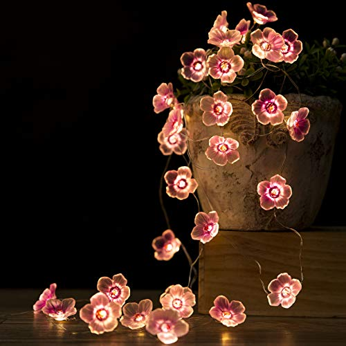 Flower String Lights Fairy Pink Cherry Blossom String Lights 10ft 30 LEDs el Wire Battery Operated Fun Room Lights for Spring, Nursery, Wedding, Dorm, Children Bedroom, Baby Carriage Decoration