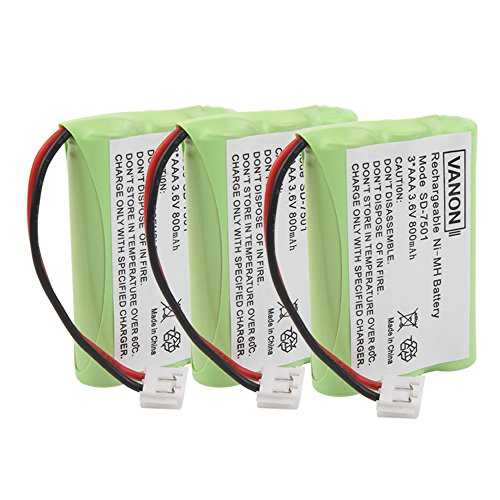 800mAh 3.6V Rechargeable Cordless Phone Battery for Motorola SD-7501 AT-T/Lucent 27910 8058480000 8900990000(3 Pack,Ni-MH) - 7501 Replacement