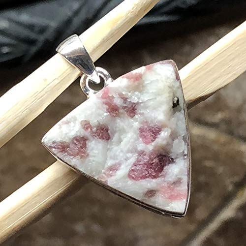 (Genuine Pink Tourmaline 925 Solid Sterling Silver Cluster Pendant 32mm long)