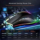 PICTEK Gaming Mouse Wired, 10000 DPI Adjustable, 8 Programmable Buttons, Chroma RGB Backlit, Comfortable Grip Ergonomic Optical PC Computer Gaming Mice Fire Button - PMW3325 Gaming Chip, Black