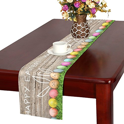 InterestPrint Happy Easter Decoration Easter Eggs Cute Bunny Table Runner Linen & Cotton Cloth Placemat Home Decor for Wedding Banquet Decoration 16 x 72 Inches