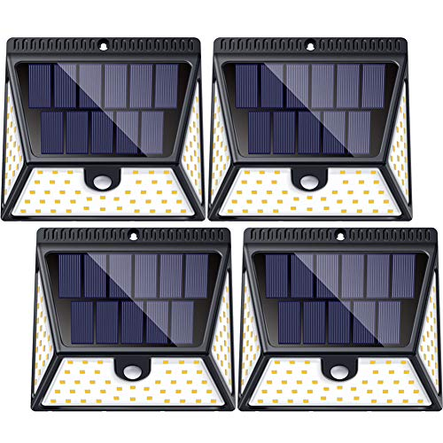 LUSCREAL Motion Sensor Outdoor 1640 Lumen Solar Powered Wall 270°Wide Angle Wireless Security Light for Outside Door, Yard, Garage, Garden, 82 LEDs, 4-Pack