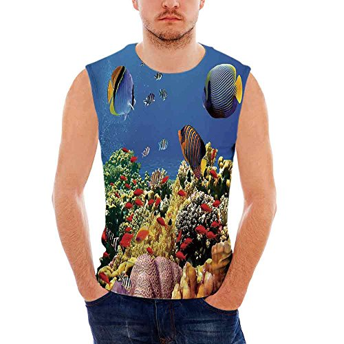 Male Sleeveless Printing Vest Ocean Submerged Colorful Old Coral Colony Fishes at Tranquil Shallow Red Sea Image Print M -