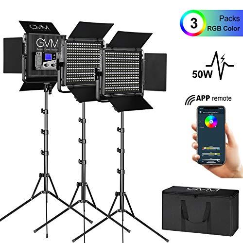GVM 3 Pack RGB LED Video Lights Kit, Multi-Color Output with APP Control CRI97 Adjustable 3200K-5600K LED Video Lighting Kit for YouTube Photography TV Studio Camera Film Lighting (Film Studio Lights)