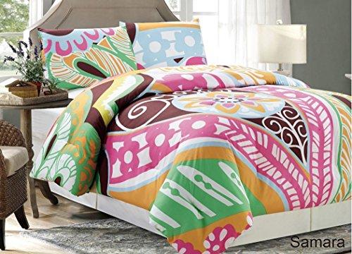 Samara by Chezmoi Collection 2pcs Colorful Floral Leaf Pattern Orange/Blue/Brown/Pink/White/Green Bedding Comforter Set (Tie Dye Twin Bedding)