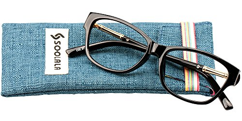 SOOLALA Womens Lightweight TR90 Cateye Stylish Prescription Frame Reading Glasses, ShinyBlack, - Non Reading Glasses Prescription Walmart