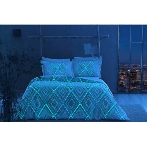 TAC Night Glowing Phosphorescent Fabric Diamond Gina Blue Full / Double 4 Pieces Bedding Set, 100 % Cotton Sateen Floral Quilt / Duvet Cover Set with Duvet Cover, Flat Sheet and 2 Pillowcases