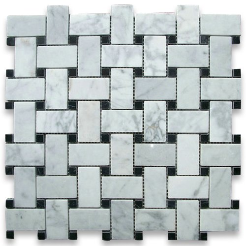 Carrara White Italian Carrera Marble Basketweave Mosaic Tile Black Dots 1 x 2 Polished