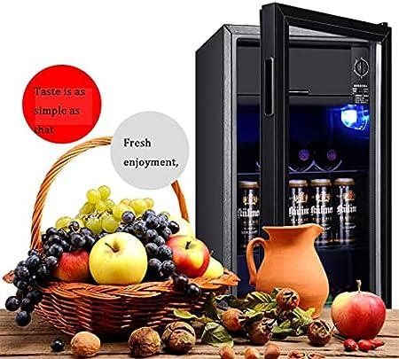 28 Botellas de Vino Bar de Hielo de una Sola Puerta, refrigerador de Vino doméstico, Puerta de Vidrio Templado Transparente Comercial, Barra de Hielo de Bodega Independiente