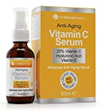 Face Serum Vs Moisturizer - 20% Vitamin C Serum Double the size - 2oz Bottle - Made in Canada All Natural 20% Vitamin C + Hyaluronic Acid + Vitamin E-Reverse Skin Aging & Wrinkles and look younger Certified Organic Scent Free Excellent for Sensitive Skin! 100% Guaranteed