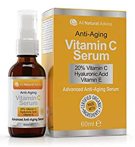 20% Vitamin C Serum - 60 ml - Made in Canada - Certified Organic + 11% Hyaluronic Acid + Vitamin E Moisturizer + Collagen Boost - Reverse Skin Aging, Remove Sun Spots, Wrinkles and Dark Circles, Excellent for Sensitive Skin + Includes Pump & Dropper