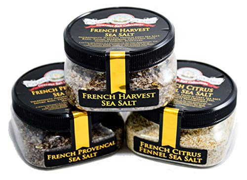 Basil Citrus Infused - French Grey Sea Salt Blends 3-Pack: French Provencal, French Harvest, French Citrus Fennel - All-Natural Grey Sea Salts Harvested from Bretagne, France - No Gluten, No MSG, Non-GMO (12 total oz.)