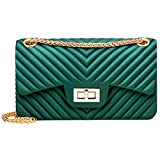 Women Fashion Shoulder Bag Jelly Clutch Handbag Quilted Crossbody Bag with Chain - Green